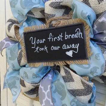 Welcome Baby Wreath Boy Nursery Elephant Nursery Blue Gray Nursery Elephant Wreath Baby  Hospital Door Elephant Baby Shower Baby Decor
