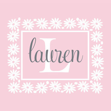 Flower Wall Decals Personalized With Name And Initial - Vinyl Wall Decal For Girl Baby Nursery Or Teen Girls Room Wall Art 22H x 28W GN052