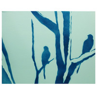 STILL BLUE Original 2 Part Painting on Canvas 11x28 Pop Art Graffiti Street Art Inspired Landscape Painting of Birds and Trees