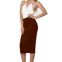 Ace of Suede Midi Pencil Skirt - Brown