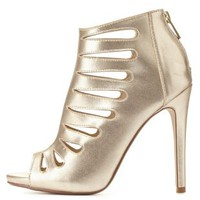 Dollhouse Caged Metallic Single Sole Heels by Charlotte Russe