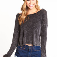 ACID WASH BOATNECK DOLMAN TEE