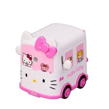 2018 New Plastic Hand-cranking Hello Kitty Car Pencil Sharpener kids Birthday Party Favor Present for students 1PC Free shipping