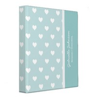 Personalized: Lite Green With White Heart Binder from Zazzle.com