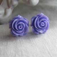 Purple Lilac Violet Rose Shabby Chic Vintage Style 15mm Earring Posts