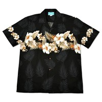 hibiscus black hawaiian border shirt