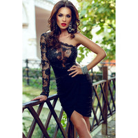 Ball Gown Party Black Lace Hollow Out Embroidery One Piece Dress = 4804072836