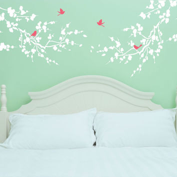 Large Cherry Blossom Branches And Birds Vinyl Wall Decal Sticker