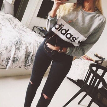 """ Adidas "" Letter and Logo Print Cotton Long Sleeve Women Casual Sweatshirt Shirt Top Blouse T-Shirt _ 1860"
