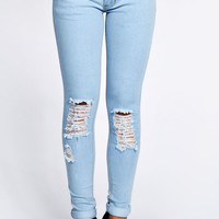 Loren Ripped Knee Bleached Blue Jeans