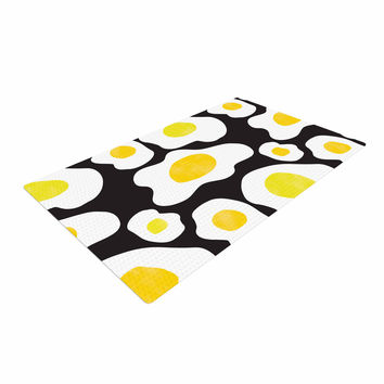 "Vasare Nar ""Fried Eggs Pattern"" Yellow Pop Art Woven Area Rug"