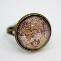 Europe Vintage World Map Ring, Version 2, Antique Bronze