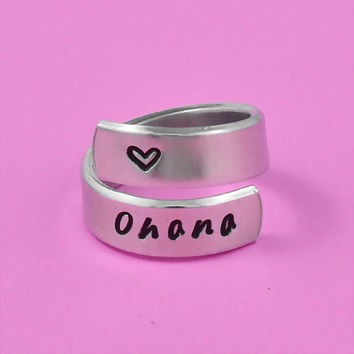 ohana - Hand Stamped Spiral Aluminum Ring, Family Ring, Gift For Loved One