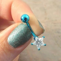 Neon Blue Belly Button Jewelry Ring with Crystal Star