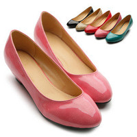 New Womens Shoes Ballet Flats Loafers Enamel Close Toe Low Heels Multi Colored
