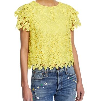 ALICE + OLIVIA Franca Floral Cutout Short-Sleeve Top $310