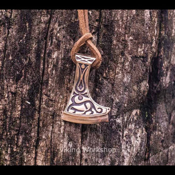 Perun's Warrior Axe Necklace with Deer Slavic Jewelry Bronze Pendant (Reconstruction)