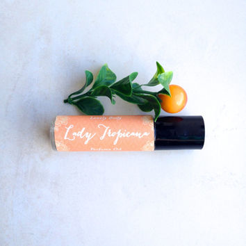 Lady Tropicana Perfume Oil - Tropical Mangosteen, Fresh Mango, Guava, Green Melon - Roll-On Personal Fragrance - Natural Base, Alcohol-Free