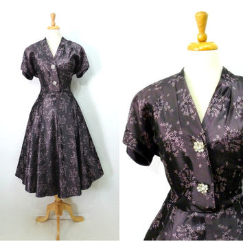 Vintage 1940s dress 40s brown purple floral rhinestone button by A Lady Petite Fashion evening cocktail dress M/L