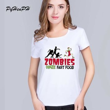 PyHenPH Brand Fashion Summer T shirt for women short sleeve the walking dead printed t-shirt zombies design women  clothes