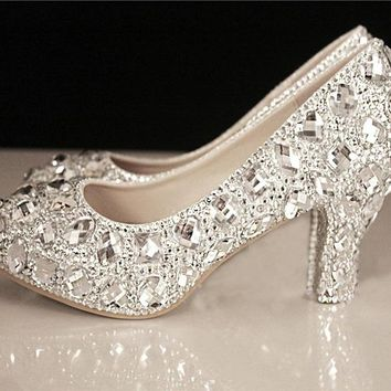 Women's Kitten Low Heel Handmade Gems Crystal Wedding Prom  Shoes