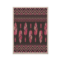 """Amanda Lane """"Painted Feathers Gray"""" Pink Dark KESS Naturals Canvas (Frame not Included)"""