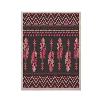 "Amanda Lane ""Painted Feathers Gray"" Pink Dark KESS Naturals Canvas (Frame not Included)"