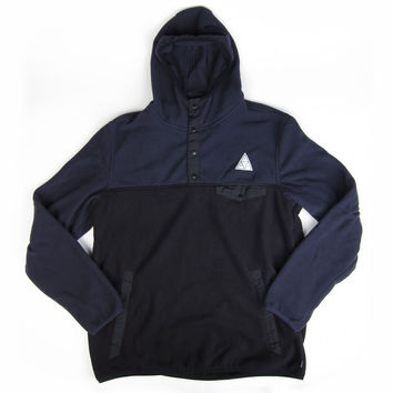 Huf: Polar Fleece Pullover Snap Hoodie - Black / Charcoal - Black / Charcoal /