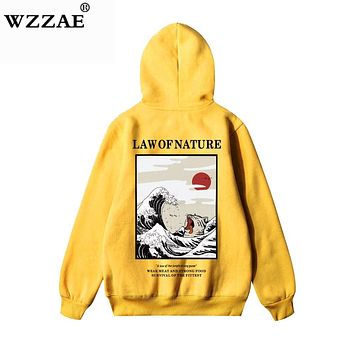 WZZAE Japanese Embroidery Funny Cat Wave Printed Fleece Hoodies 2018 Winter Japan Style Hip Hop Casual Sweatshirts Streetwear