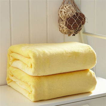 Multi-size throw blanket/fleece blanket on the bed,soft autumn/spring upgraded flannel blanket for sofa,home yellow blanket