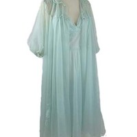 60s Aqua Double Chiffon Lace Nightgown Peignoir Set