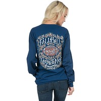 Fall Ball Y'all Long Sleeve Tee Shirt in Estate Blue by Lauren James - FINAL SALE