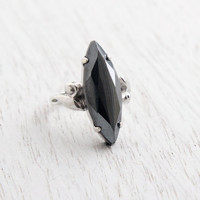 Vintage Sterling Silver Hematite Ring - Retro 1960s Size 6 Statement Jewelry / Large Marquise Gray Stone