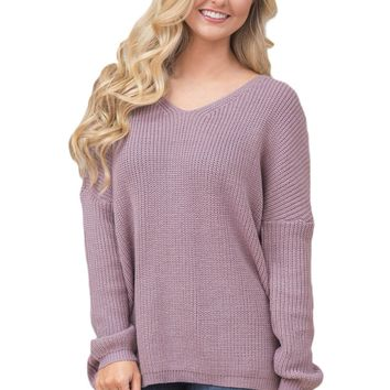 Chicloth Violet Lace up Back Womens Sweater