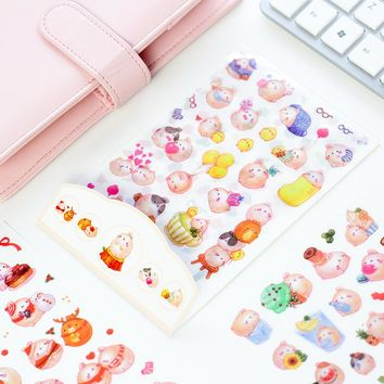 6 sheets DIY Colorful Molang Rabbits kawaii Stickers Diary Planner Journal Note Diary Paper Scrapbooking Albums PhotoTag