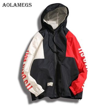 Aolamegs New Original Patchwork Plus Size Hoodies Men Fashion High Street Summer Hip hop Full Sleeve Sweatshirts Thin 2017 Brand