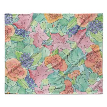 "Catherine Holcombe ""Southwestern Floral "" Green Purple Fleece Throw Blanket"