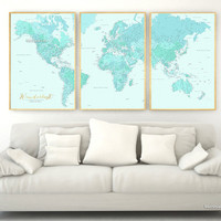 "Highly detailed word map poster set in aquamarine, set of 3 split posters in 24x36"" each, Wanderlust definition"