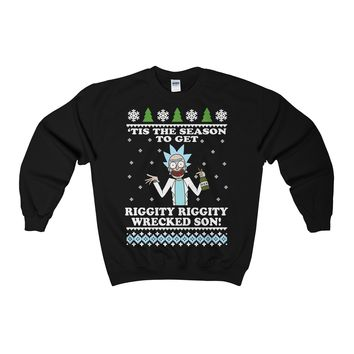 Ricksmas Riggity Wrecked Ugly Christmas Sweater Adult Crewneck Sweatshirt