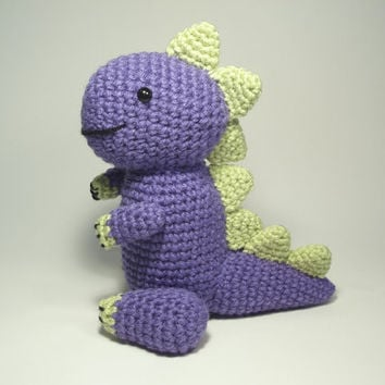 Crocheted Dinosaur Stuffed Animal Toy by NicolesCritters on Etsy