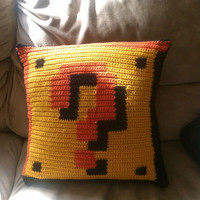 NESStyle Mario Question Mark Block Pillow by KnittableKnerdery