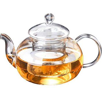 Glass Teapot Heat Resistant Clear Tea Pot 250ml with Infuser for Tea