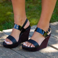 Returning Retro Platform Wedges- Black