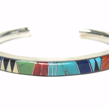 Vintage Navajo Inlay Cuff Bracelet Sterling 6 Inches Patrick Lincoln