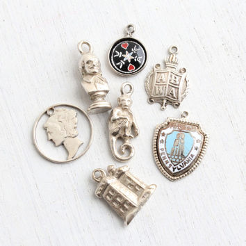 Vintage Sterling Silver Charm Lot - 7 Small Retro Jewelry Charms for Bracelets, Necklaces - Monkey, Pittsburgh, Hex Sign, Benjamin Franklin