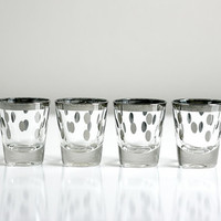 Mid Century Silver Polka Dot Shot Glasses by WiseApple on Etsy