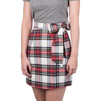 Plaid Wrap Skirt in Ivory by Lauren James - FINAL SALE
