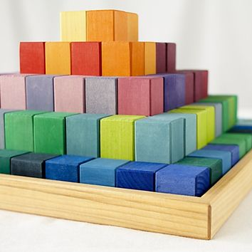 Kids Blocks: Pyramid of Rainbow Blocks in Wooden Toys & Blocks | The Land of Nod