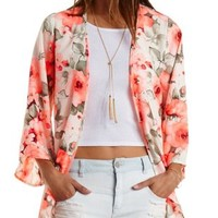 Coral Floral Print Bell Sleeve Kimono by Charlotte Russe