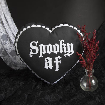Spooky AF - Mini Heart Shaped Pillow - Handmade Plush Throw Pillow - Horror Inspired Home Decor - Killin Me Softly - KMSxCo